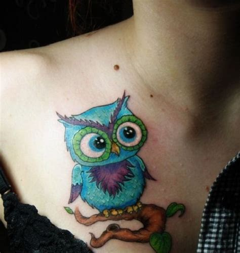colorful owl tattoos colorful owl tattoos