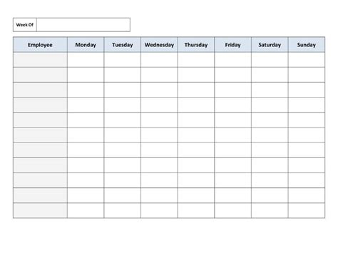 blank work schedule template free templates resume