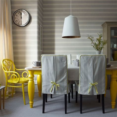 yellow dining room ideas grey striped dining room with yellow chair grey and