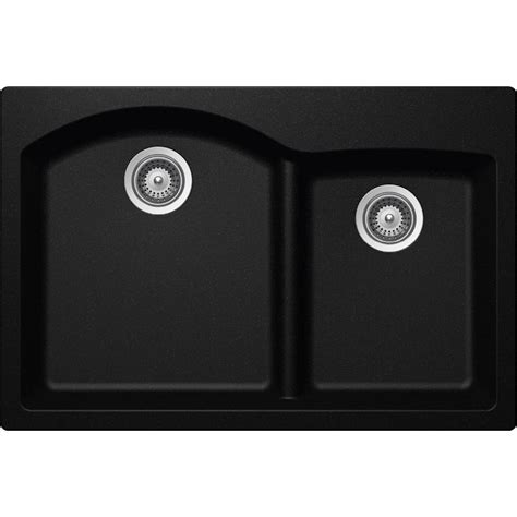 Elkay Schock Sink Template Elkay Elkay By Schock Dual Mount Quartz Composite 33 In Double Bowl Kitchen Sink In Black