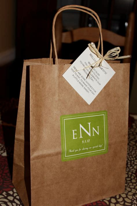 wedding guest bags wedding welcome bag style hotel guest bag green and white