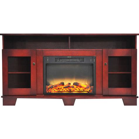 fireplace display hanover glenwood 59 in electric fireplace in cherry with