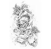 Skull Adn Demon Tattoo Design Img461