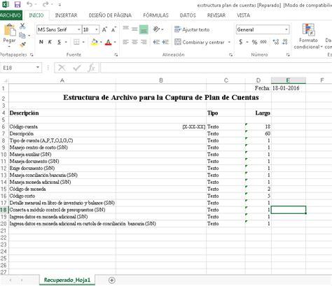 layout en excel como subir el plan de cuentas en archivo plano parte 1