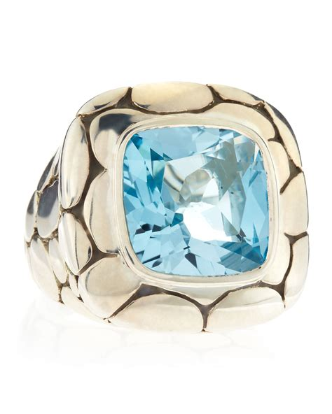 Batu Blue Topaz I231 hardy batu kali blue topaz square ring size 6 in silver for null lyst