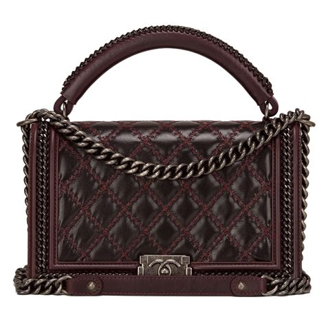 Chanel Boy Top Handle Fr1503 chanel burgundy quilted shiny goatskin new medium boy bag with top handle world s best