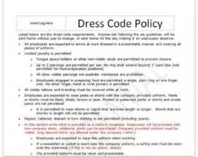 employee dress code policy template