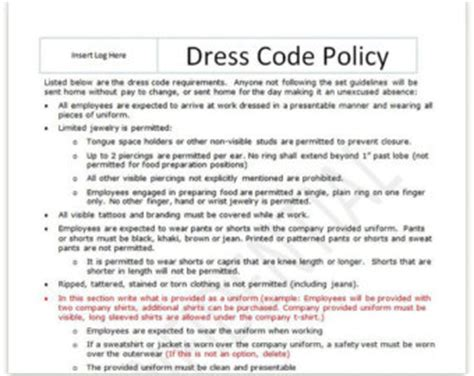 etsy policies template dress code policy template