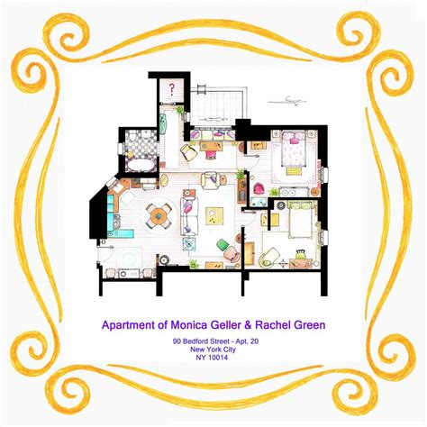 monica and rachel s apartment floor plans of your favorite tv apartments nerdist