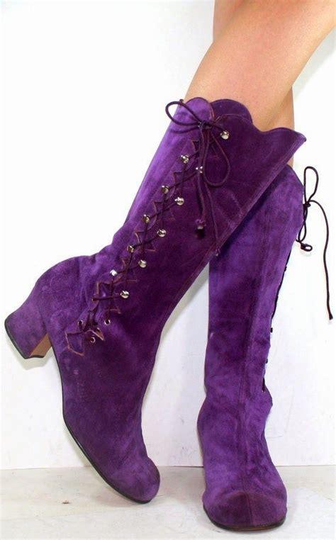 vintage high heel boots vintage high heel suede purple great shoes