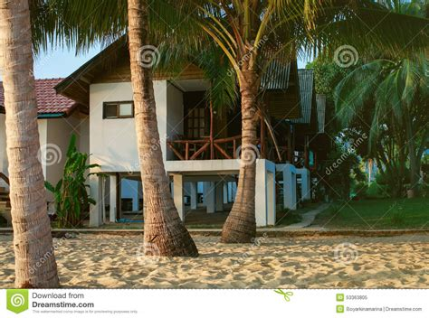 Palm Trees And Cottages Stock Photo Image 53363805 Cottages Near The Sea
