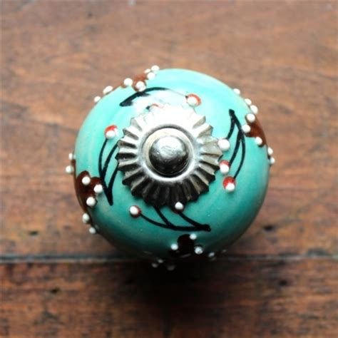 Teal Cabinet Knobs by Drawer Knob Cabinet Pull Ceramic In Aqua With