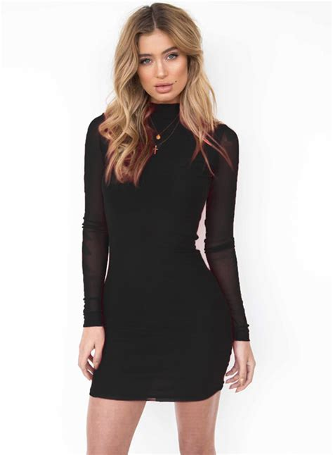 Sleeve Mesh Dress mock neck sleeve mesh bodycon dress novashe