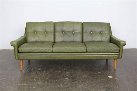 mid century modern green leather sofa by skippers mobler image 5