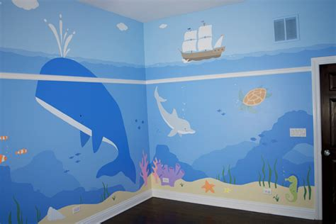 childrens wall murals children s mural underwater mural children s room muralist