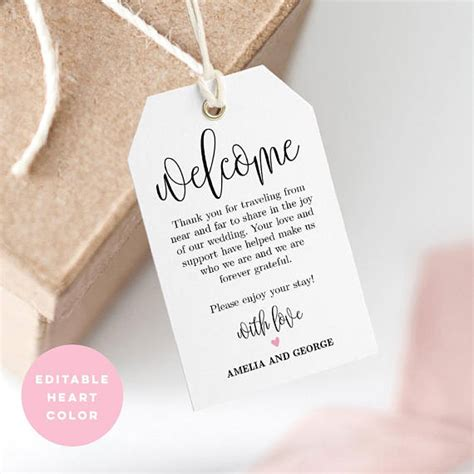 printable welcome tags printable welcome tag wedding welcome bag tag favor tag