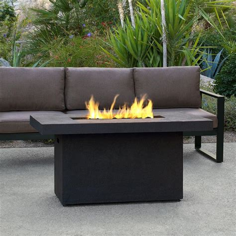 Real Flame Ventura 50 In Fiber Concret Rectangle Chat Propane Outdoor Firepits