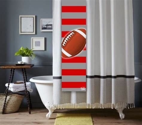 college curtains custom football shower tag for shower curtain bathroom