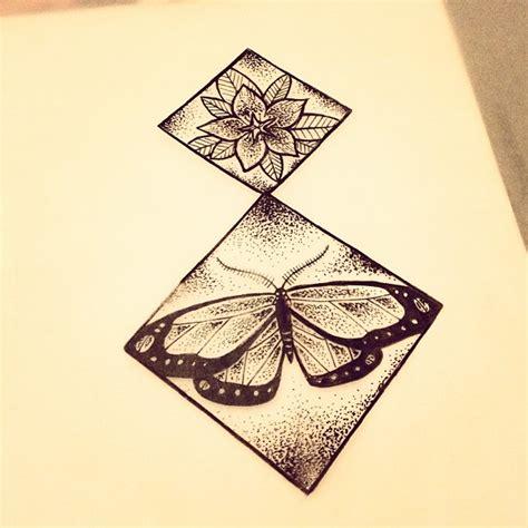rhombus pattern tattoo dotwork butterfly and flower in rhombus frames tattoo