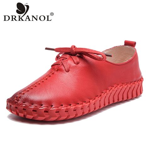 Flat Shoes 2018 Aamr drkanol 2018 autumn shoes handmade sewing genuine leather flat shoes lace up soft