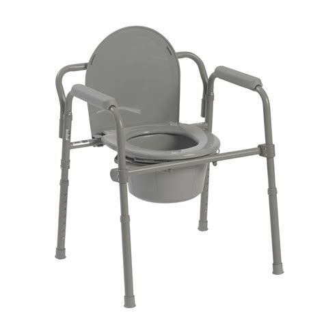Senior Potty Chair - folding steel bedside commode toilet seat senior citizen