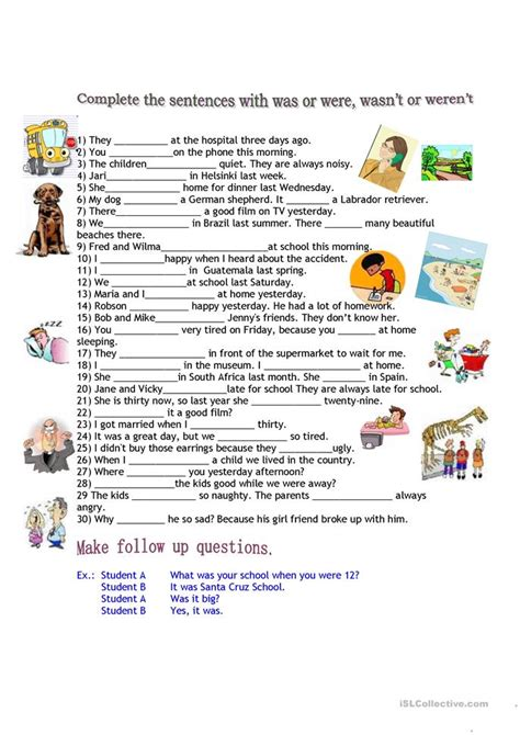 free printable worksheets was were was or were worksheet free esl printable worksheets made