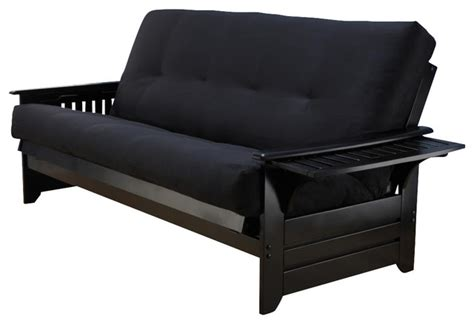 black suede futon phoenix futon frame in black wood with innerspring suede