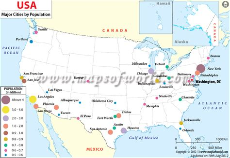 map usa major cities buy us most populated cities map