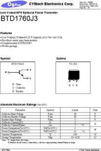 transistor j3 datasheet btd1760j3 datasheet low vcesat npn epitaxial planar transistor