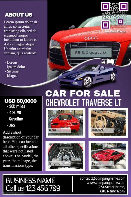 Car Deal Flyer Contains Both Car Listing And Business Presentation At A Time Stuff To Buy Sle Poster Presentation Templates