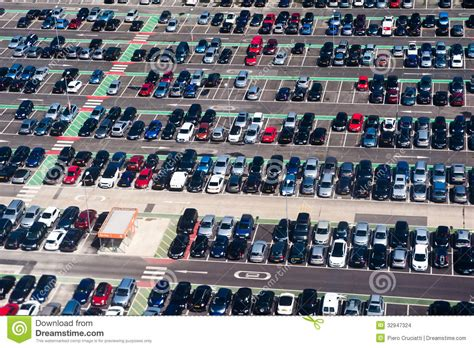 aerial view of dealership aerial view of car crowded parking lot stock images