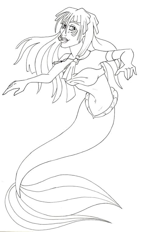 princess kida coloring page kida mermaid line attempt by therainedrop on deviantart