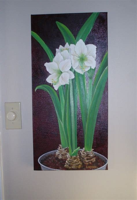 custom realistic oil painting  potted amaryllis plants
