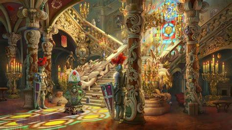 wallpaper beauty   beast castle artwork stairs