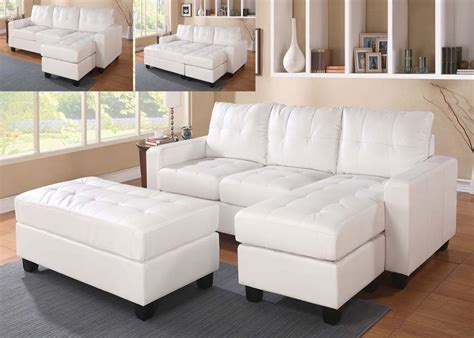 white faux leather ottoman white faux leather sectional sofa with reversible chaise