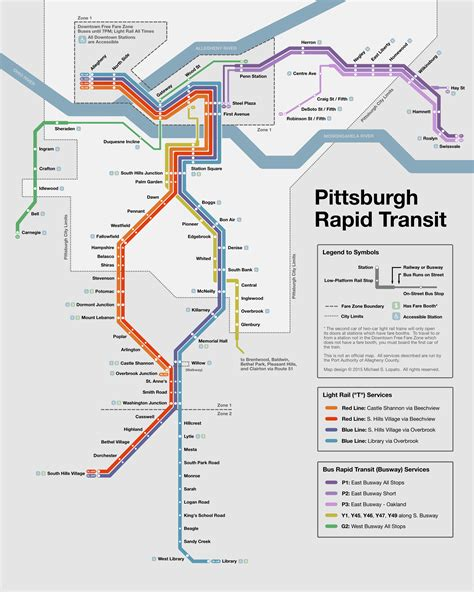 pittsburgh subway map unofficial map pittsburgh rapid transit