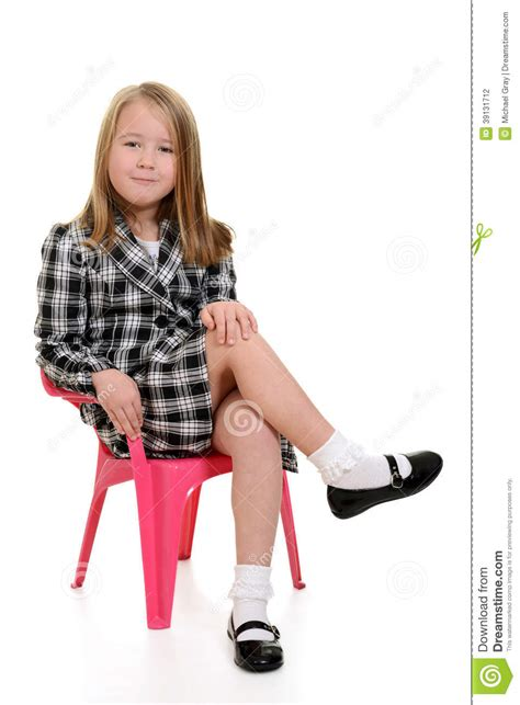 White Sitting Chair by Sitting In Pink Chair Stock Photo Image