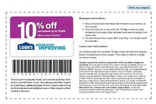 10 lowes coupon may 2018