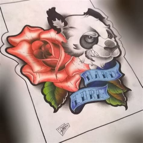 new school panda tattoo angry new school panda with rose and banner tattoo design