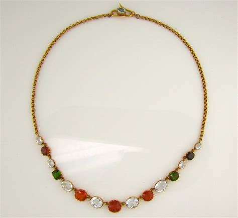 multi gem and yellow gold handmade necklace at