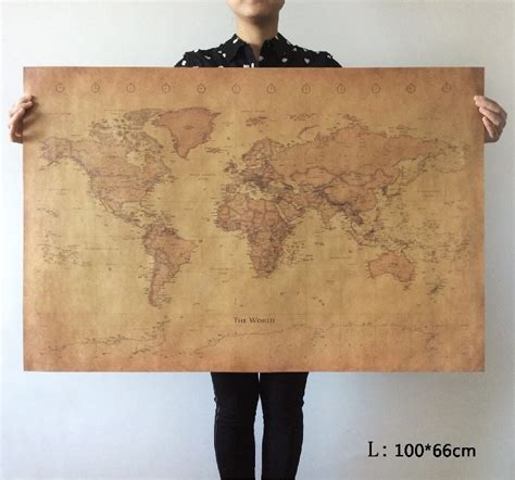 Vintage Decor Vintage Wall Poster aliexpress buy choose size the world map large vintage style retro paper poster