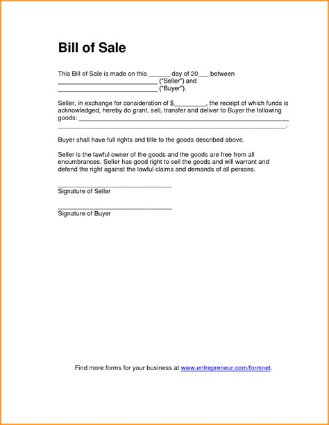 11 bill of sale template pdf letter template word
