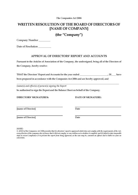 board resolution template free uk board resolution to approve report and accounts