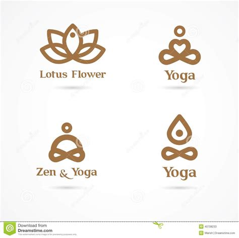 collection of yoga icons elements and symbols stock