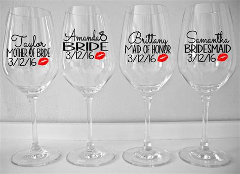 personalized bridal party wine glass decals with lips custom