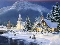 Thomas Kinkade Art Oil Painting Repro Christmas Village