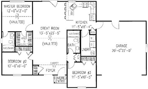 Two Story Bungalow House Plans by Ranch Style House Plans 1200 Square Foot Home 1 Story