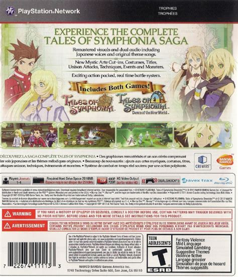 Tales Of Symphonia Chonicles Ps3 back of tales of symphonia chronicles usa ps3 boxart 2014