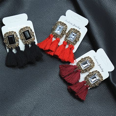 Square Tassel ethnic square tassel earring buy unique gifts and