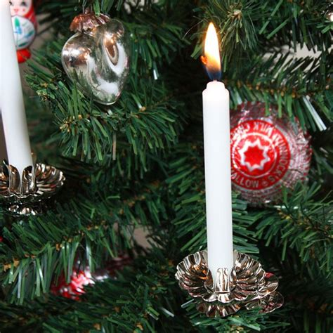 classic christmas tree candle clip on s in silver or gold